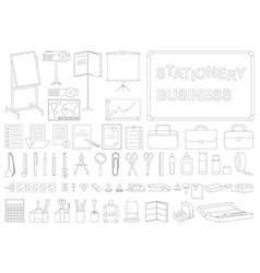 Icons business stationery line vector