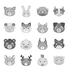 Animal muzzle set icons in monochrome style big vector