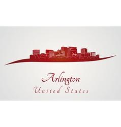 Arlington skyline in red vector