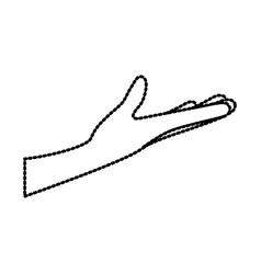 arm extended hand gesture on dotted silhouette vector image