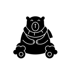 bear polar cute icon black vector image