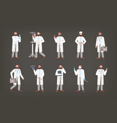 bundle of male doctor physician or surgeon vector image vector image