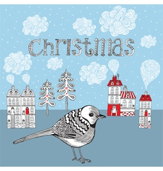 Christmas card with bird and winter little town vector image