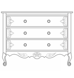 Classic commode with damask ornaments vector image