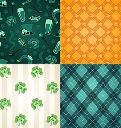 four st patricks days patterns vector image