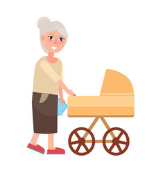 grandmother walking with newborn toddler isolated vector image vector image