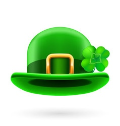 Green bowler hat decorated with clover vector