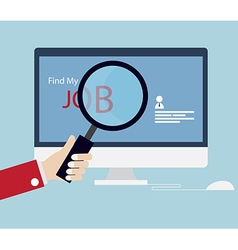 Job searching job seeking with magnifying glass vector