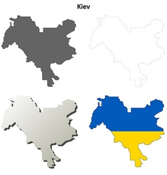 Kiev city blank outline map set vector image vector image