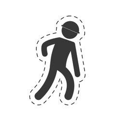 Man worker helmet figure pictogram vector