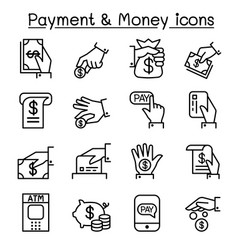 payment money icon set in thin line style vector image vector image