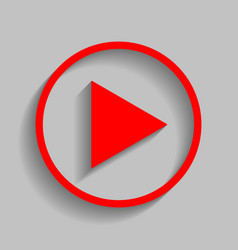 Play sign red icon with soft vector