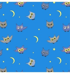 Seamless background with owls vector
