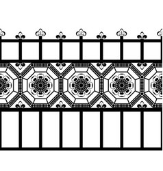 Seamless black and white vintage fence at vector
