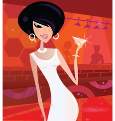 Sexy retro woman vector