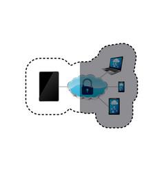 Smartphone padlock cloud security vector