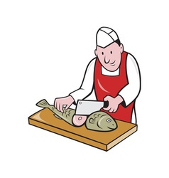 Sushi chef butcher fishmonger cartoon vector