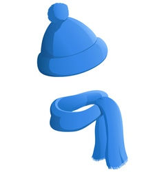winter hat scarf vector image vector image