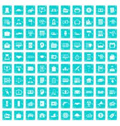 100 lending icons set grunge blue vector