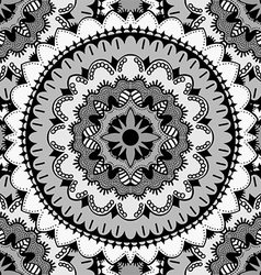 Black and white mandala patterned background vector