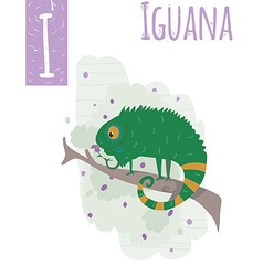 Vertical of iguana with colorful background vector