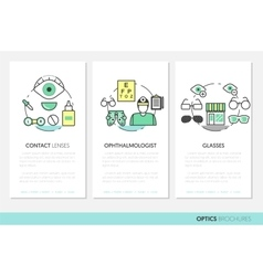 Optician Thin Line Brochures and Business Cards vector image
