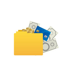 color silhouette of folder with money accounts vector image