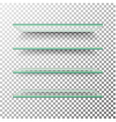 empty glass shelves template set alike vector image