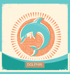 Dolphin symbol retro poster with blue sea wave on vector