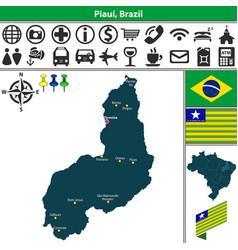 Map of piaui brazil vector