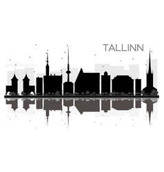 Tallinn city skyline black and white silhouette vector