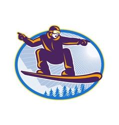 Snowboarder Holding Snowboard Retro vector image