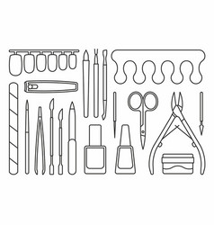 Manicure tools icons vector