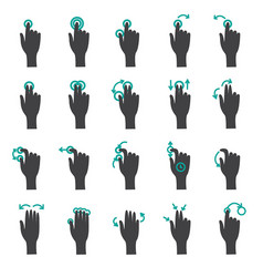 Hand touch gestures flat icon set vector