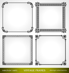 Vintage frames set for design vector image