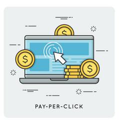 Pay per click thin line concept vector