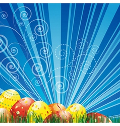 Easter background with colorful easter eggs over vector