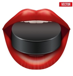 Womans open mouth with ice hockey puck in lips vector