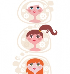 Three girls vector