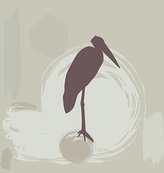 Stork silhouette on grunge background vector