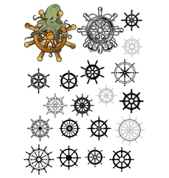 Heraldic nautical isolated helms set vector