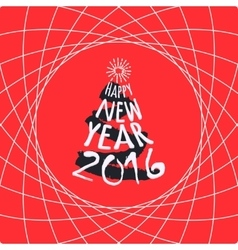 Happy New Year red greeting card template vector image