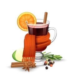 Mulled wine and scarf vector