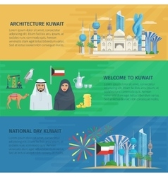 Kuwait banner horizontal set vector