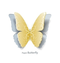 Yellow butterfly cut out of paper vector