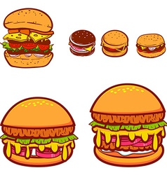 Set of the burgers in vector