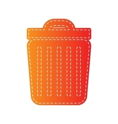Trash sign  orange applique isolated vector