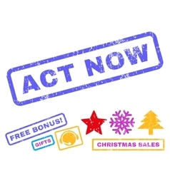 Act Now Rubber Stamp vector image