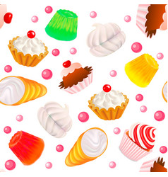 Background seamless with fruit cakes marshmallow vector