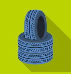 Barricade of tirespaintball single icon in flat vector